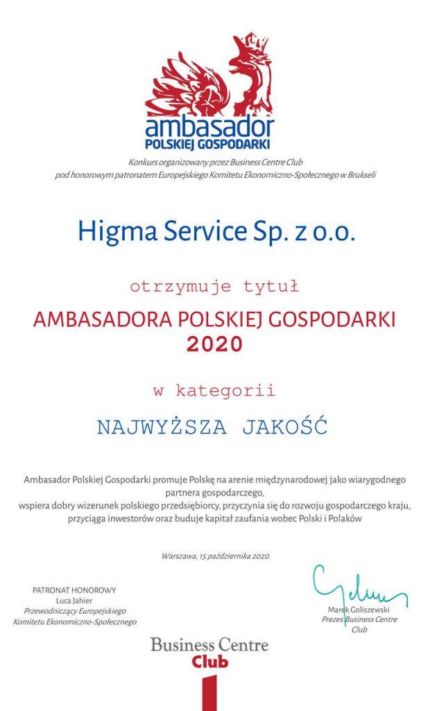 Dyplom dla Higma Service w konkursie Ambasador Polskiej Gospodarki